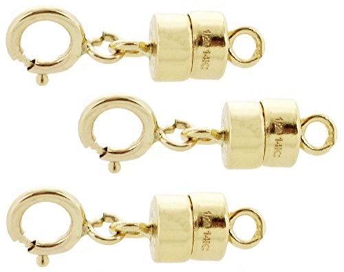 3 PACK 14k Gold-filled 4.5 mm Magnetic Clasp Converter for Light Necklaces USA 5.5 mm Spring (14k Gold Filled Clasp)