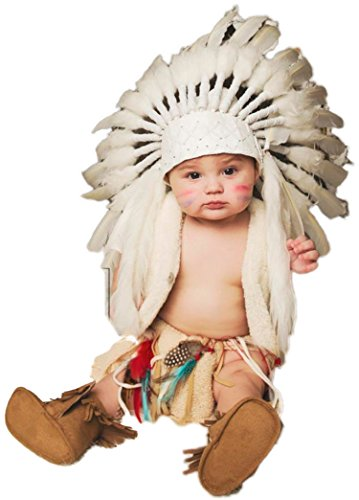 Kid/Children 9 to 18 Month Toddler/Baby : White Feather Headdress | Native American Indian Inspired 18 inch (Native Make American Headdress)