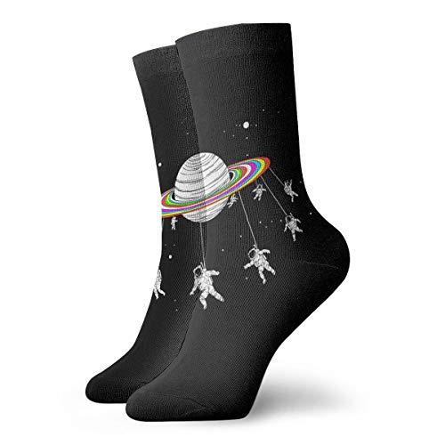 YUANSHAN Socks Space Astronauts Go Round Planet Women & Men Socks Soccer Sock Sport Tube Stockings Length 11.8Inch]()