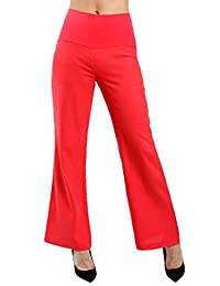 Women's Comfy Linen Loose Fit Flare Casual Pants With Fabric Elastic Waist