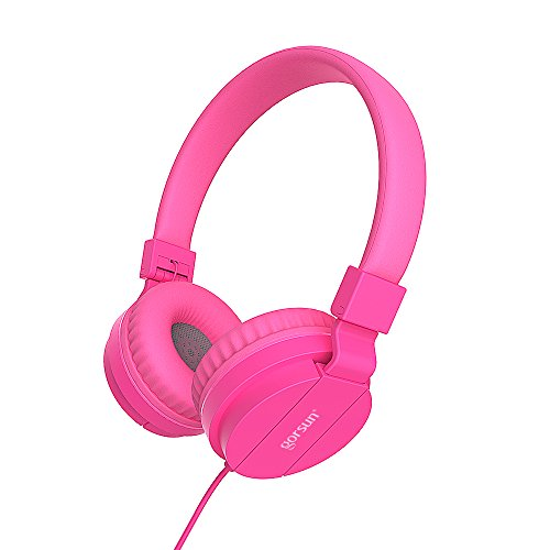 gorsun Kids Headphones, Lightweight Stereo Foldable Wired Headphones for Kids Adults Adjustable Headband Headset for Cellphones iPhone Laptop Computer Mp3/4 Earphones(Pink)
