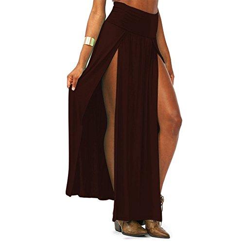 Pinkyee tendencias de la mujer Talle Alto doble ranuras Maxi falda café
