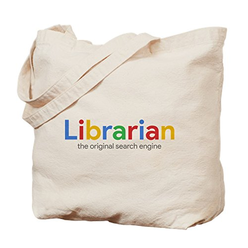 CafePress Librarian The Original Search Engine Natural Canvas Tote Bag, Cloth Shopping Bag
