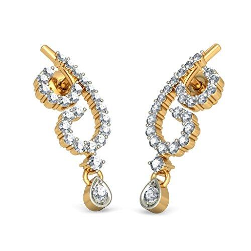 Or jaune 18K 0,69ct tw White-diamond (IJ | SI) Pendants d'oreilles