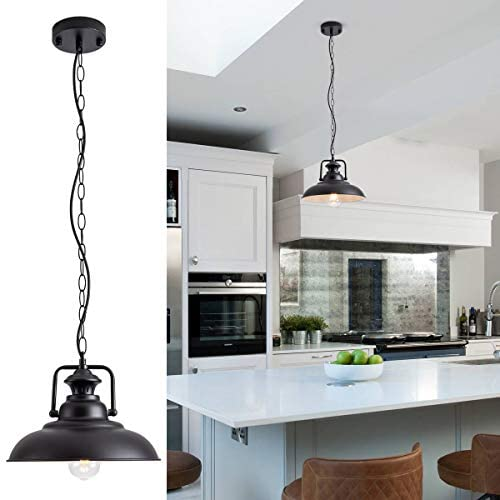 Barn Pendant Light with Adjustable Chain Industrial Hanging Pendant Lighting Fixture Rustic Farmhouse Pendant Light for Kitchen Dinning Room Entryway, Diameter 12 , Black, E26