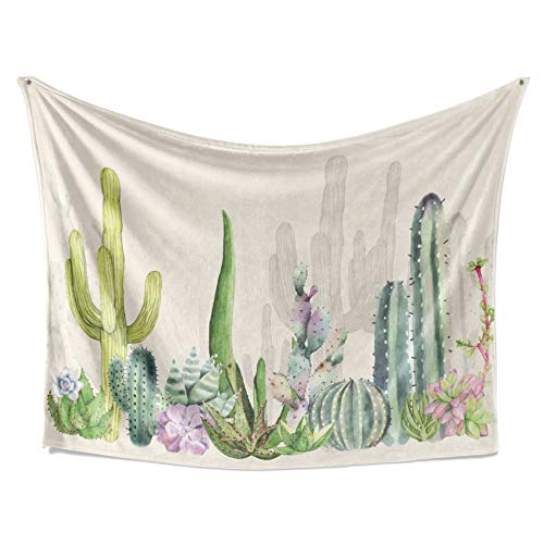 Green Floral Tapestry - LIVETTY Tapestry Watercolor Floral and Botanical Wall Hanging Green Desert Plants Tropical Cactus Tree Tapestries Mildew Resistant Microfiber Birthday Wall Decor for Dorm 84x59 Inch White