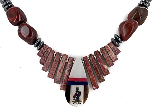 $280Tag Inlay Certified Silver Navajo Natural Turquoise Red Coral MOP Onyx Native Necklace 750179-2 ()