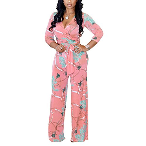 Womens Floral Print Long Sleeve V Neck Flare Bell Bottom Long Pants Jumpsuit Rompers Party Clubwear Pink -