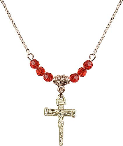 (18-Inch Hamilton Gold Plated Necklace with 4mm Ruby Birthstone Beads and Nail Crucifix Charm. Red Ruby July Birthstone)