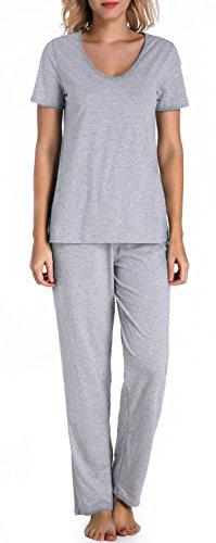 Elastic Waist Short Sleeve Pajama Set - 9