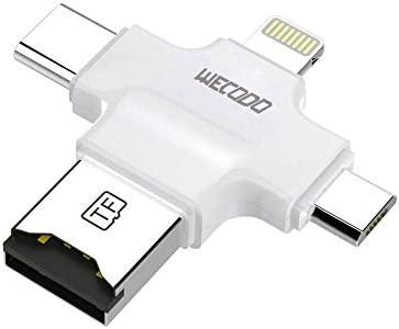 Micro Lector de tarjetas SD, WECODO 4 en 1 lector de tarjetas TF con Lightning/USB/Micro USB/conector tipo C para iphone/ipad/android/PC/Mac