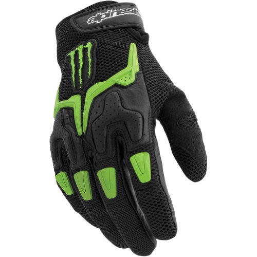 Alpinestars M20 Air Men's Leather/Mesh Street Motorcycle Gloves - Black/Green / 2X-Large