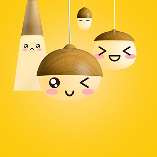 MASO Home, The Modern Elegance Style of Pendant Hanging Lamps, Natural Wood Color Based with Glass Shade Pendant Ceiling Light, Retro Industrial Lamp Vintage Unique Design (Chestnut Shape) by Maso Home (Image #2)