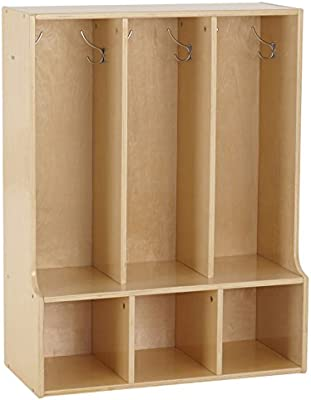ECR4kids Birch Streamline 3 Section Coat Locker with Bench