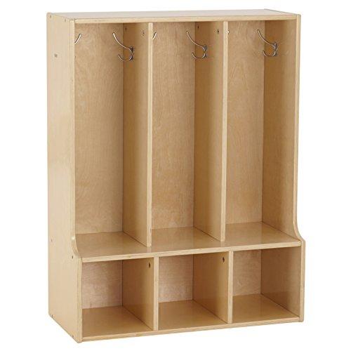 ECR4Kids Birch Wood Streamline 3-Section Toddler Coat Locker with Bench by ECR4Kids