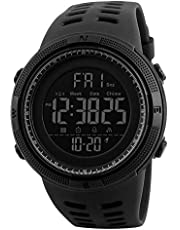 Mens Women Digital Sports Watch Ultra-Thin and Wide Angle Vision Design, 5ATM Swimming Waterproof, Countdown Dual Time Split Time Stopwatch Backlight Alarm Mode, Wrist Watches for Boys Girls