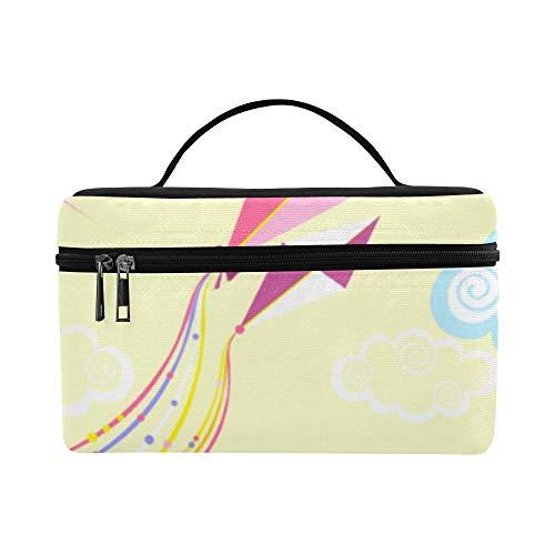 Makeup Bag Durable Cosmetic Bags Kite Flying Lightweight Waterproof Lunch Bag School Toiletry Storage Bag Outdoor For Adult Tote