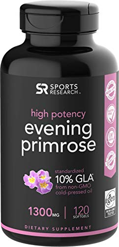 Cheap Evening Primrose Oil (1300mg) 120 Liquid Softgels, Cold-Pressed with No fillers or Artificial Ingredients; Non-GMO & Gluten Free
