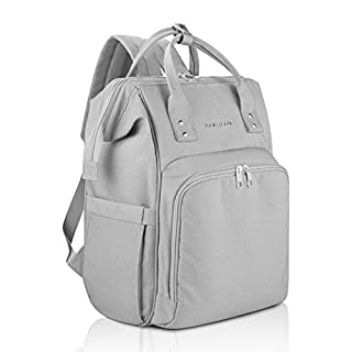 AMILLIARDI Compact Diaper Bag Backpack - 6 INSULATED Bottle Holders - Detachable Stroller Straps (Grey)