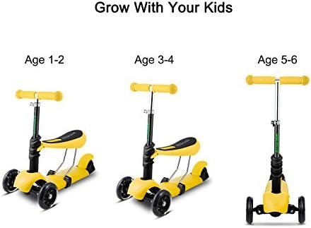 Hikole Smibie Scooter para niños Patinete de 3 Ruedas con Altura Adjustable Asiento extraíble y Adjustable Manillar en T LED Enciende la Rueda para ...