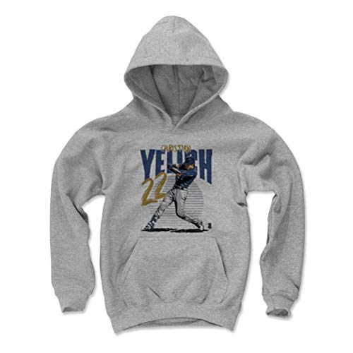 500 LEVEL Christian Yelich Milwaukee Baseball Youth Sweatshirt (Kids X-Large, Gray) - Christian Yelich Rise B (14 Milwaukee Brewers Jersey)