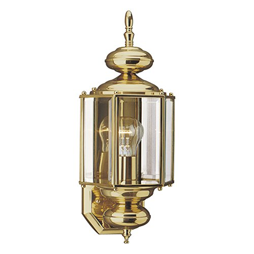 (Sea Gull Lighting 8510-02 Classico One-Light Outdoor Wall Lantern with Clear Beveled Glass Panels, Polished Brass Finish)