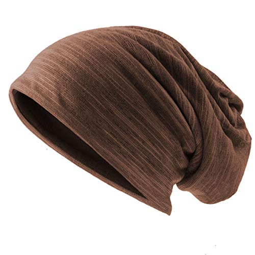 Ruphedy Mens Slouchy Beanie Skull Cap Summer Thin Baggy Oversized Knit Hat B301 (B011h-Brown) ()