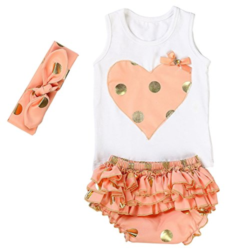 Messy Code Lovely Design Posh Gold Polka Dots Baby Girls Outfits,X-Small / 0-6Months,Peach (Summer Suit)
