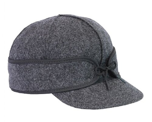 Stormy Kromer Mackinaw Cap - Winter Wool Hat with Earflaps Charcoal