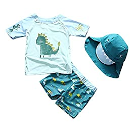 Baby Boy Two Piece Swimsuit Set Boys & Girls Dinosaur Bathing Suit Rash Guard Swimwear with Hat for Kids