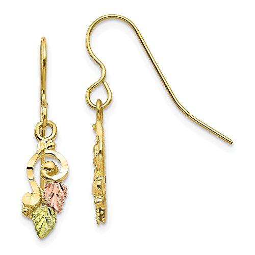 10k Tri Color Black Hills Gold Shepherd Hook Drop Dangle Chandelier Earrings Fine Jewelry Gifts For Women For Her