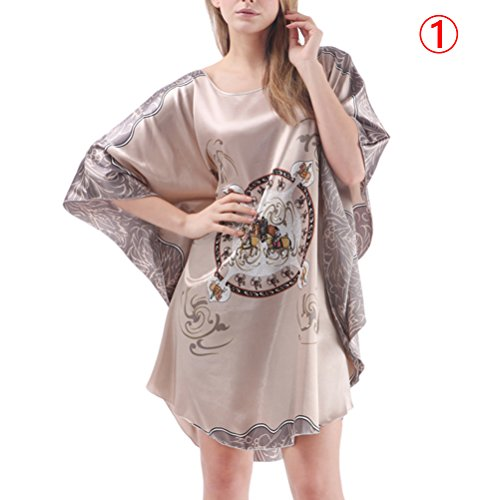 Zhhlaixing Fashion 7050 Women's Satin Blend Robe Wrap Dress Loose Round Neck Gown Bath Sleepwear Pajamas 1