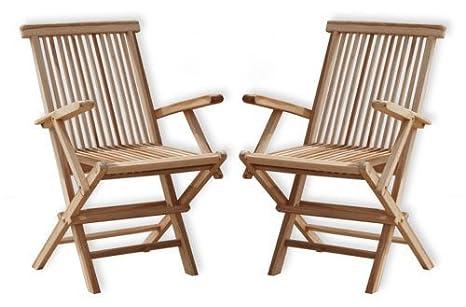 KMH, Juego de 2 sillas plegables con reposabrazos de madera ...