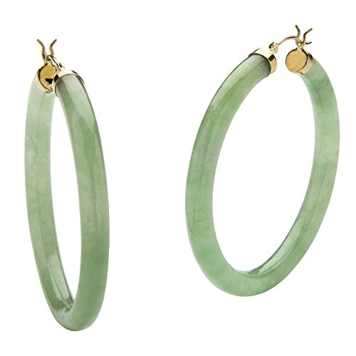 10K Yellow Gold Hoop Earrings (45mm) Round Genuine Green Jade