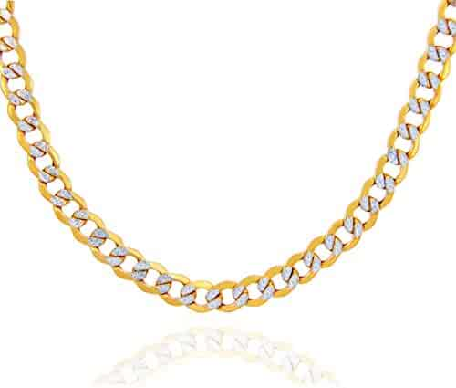 14K Yellow Gold Diamond Cut with White Pave 4.5mm Cuban Chain Necklace- Unisex-16