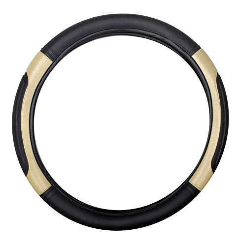 Vheelocityin Black and Beige Car Steering cover for XUV / Verna / Polo / Scor……