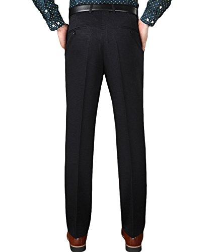 YFFUSHI Trousers Slim Business 973 Polka Dot Men's Black Pants Flat Casual Dress Straight Front 4S4Azxrq