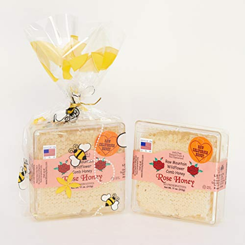 California Raw Mountain Wildflower Comb Rose Honey Honeycomb 11 Ounces Pure 100% Natural Gift Wrapped - Pack Of Two