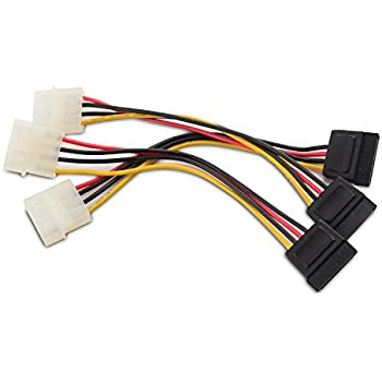 amazon com 6 sata 15 pin male to dual 4 pin molex female y cable matters 3 pack 4 pin molex to sata power cable adapter 6 inches