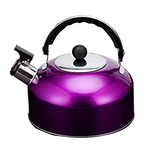 Baoblaze Portable Stainless steel Whistling Kettle Stainless Steel Camping Kitchen Tea Coffee Water Pot - 5 Colors to Choose - purple