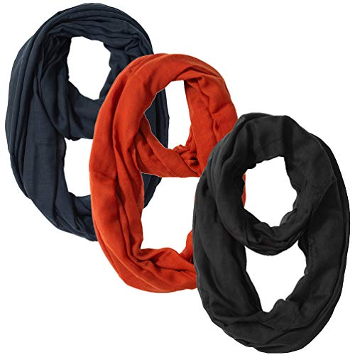 29 Styls Lightweight Plain Infinity Scarf or Oblong Scarf For Women Solid Color Gift Idea (Infinity Black Navy ()