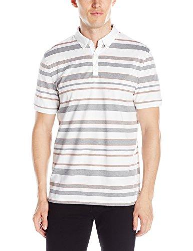Calvin Klein Men's Jacquard Auto Stripe Short Sleeve Polo Shirt, White, Large