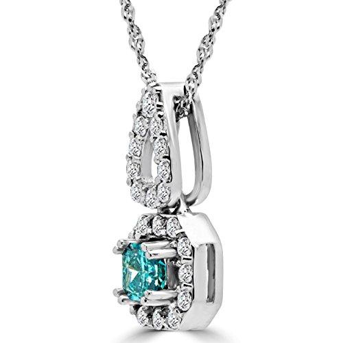 9/10Halo collier pendentif en or blanc 14K Diamant coupe brillantes Bleu et Blanc Avec Chaîne