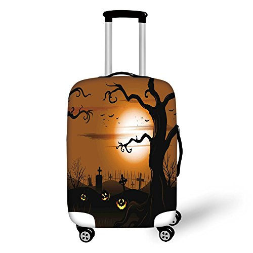 Travel Luggage Cover Suitcase Protector,Halloween Decorations,Leafless Creepy Tree with Twiggy Branches at Night in Cemetery Graphic,Brown Tan,for -