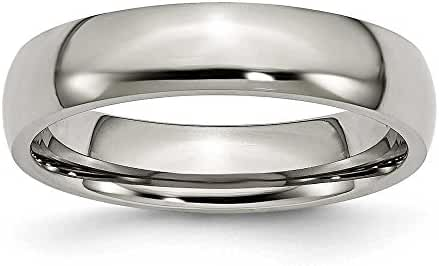 Chisel Rounded Polished Titanium Ring (5.0 mm) - Sizes 6-13