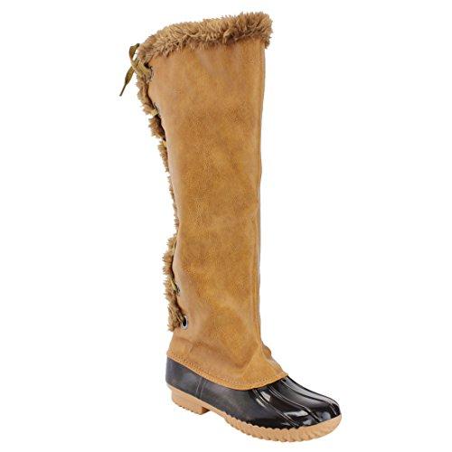Nature Breeze FF70 Damen Knie High Lace Up isolierte Stiefel halbe Größe klein Tan 15