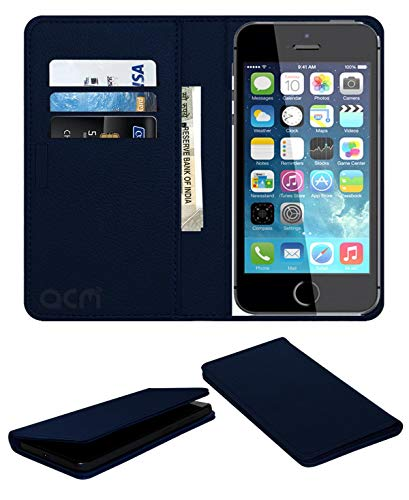 Acm Rich Leather Flip Wallet Front  amp; Back Case Compatible with Apple iPhone 5s Mobile Flap Magnetic Cover Blue