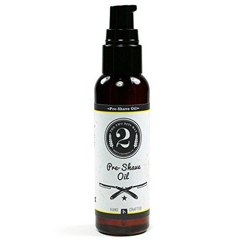 Preshave Oil for Men, Unscented, 2 fl. oz. Pump Bottle, by The 2 Bits ()