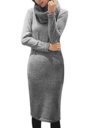Mujer Cuello En V Manga Larga Informal Punto Vestido A Media Pierna w Bufanda - sintético, Heather Gris, 100% de acrílico, Mujer, S (GB 6)