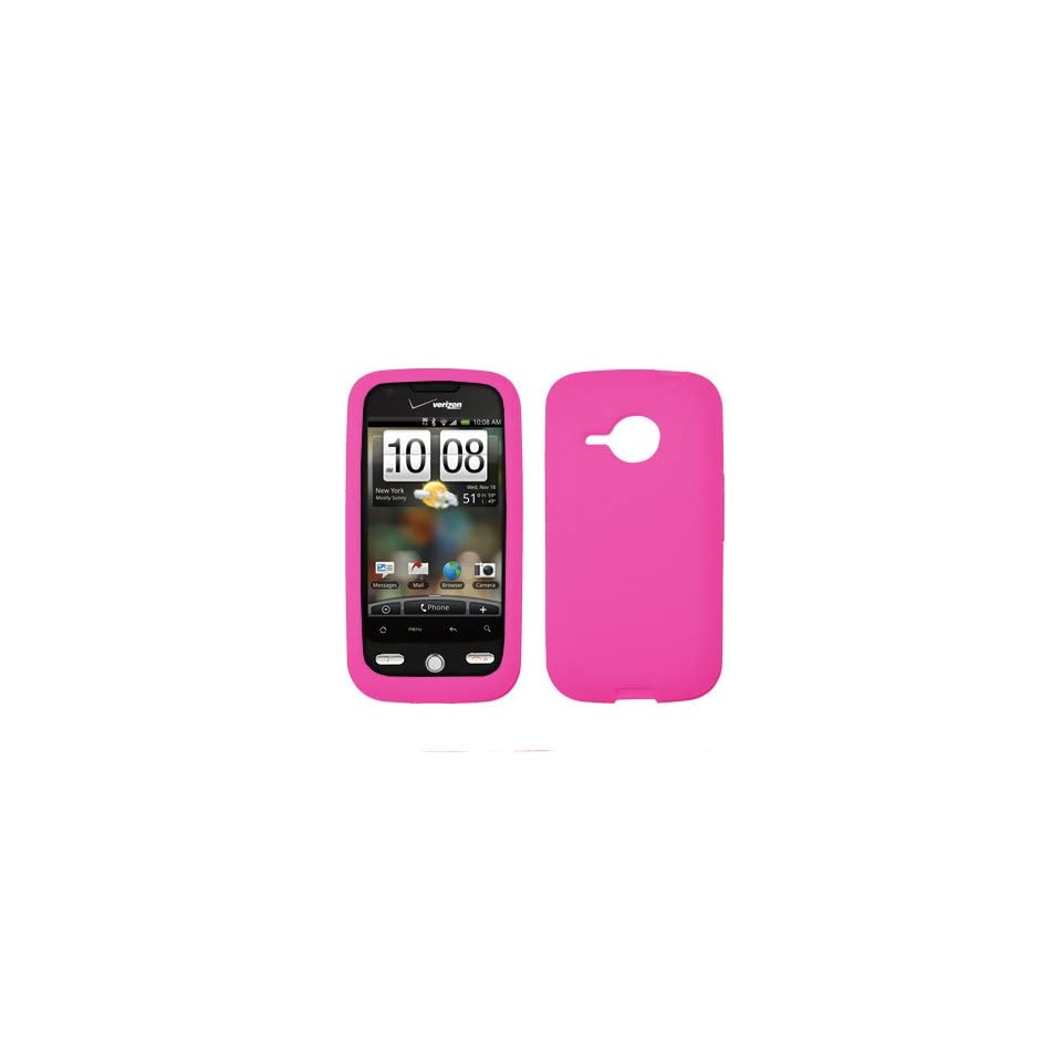 HTC Droid Eris Premium Hot Pink Silicone Skin Case Cover Cell Phone Protector + Black 3.5mm Stereo Hands free Headphones for HTC Droid Eris